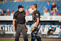 Charlotte Knights catcher Seby Zavala (5) argues a call with umpire John Mang during an International League game against the Syracuse Mets on June 11, 2019 at NBT Bank Stadium in Syracuse, New York.  Syracuse defeated Charlotte 15-8.  (Mike Janes/Four Seam Images)