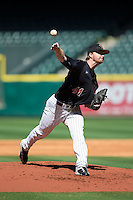 Texas Tech Red Raiders starting pitcher Ryan Moseley (44) delivers a pitch to the plate against the Houston Cougars at Minute Maid Park on February 26, 2016 in Houston, Texas.  The Red Raiders defeated the Cougars 3-2 in game one of the 2016 Shriners Hospitals for Children College Classic.  (Brian Westerholt/Four Seam Images)