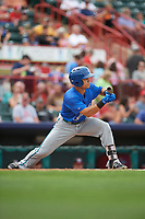 Hartford Yard Goats shortstop Anthony Phillips (14) squares around to bunt during a game against the Erie SeaWolves on August 6, 2017 at UPMC Park in Erie, Pennsylvania.  Erie defeated Hartford 9-5.  (Mike Janes/Four Seam Images)