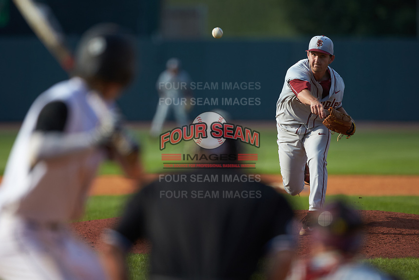 Florida State Seminoles relief pitcher Drew Carlton (46) in action against the Louisville Cardinals in Game Eleven of the 2017 ACC Baseball Championship at Louisville Slugger Field on May 26, 2017 in Louisville, Kentucky. The Seminoles defeated the Cardinals 6-2. (Brian Westerholt/Four Seam Images)