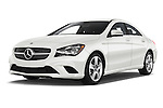 Stock pictures of low aggressive front three quarter view of 2016 Mercedes Benz CLA Class CLA250 4 Door Sedan Low Aggressive