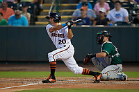 Delmarva Shorebirds Nick Horvath (20) bats in front of catcher Grant Koch (34) during a South Atlantic League game against the Greensboro Grasshoppers on August 21, 2019 at Arthur W. Perdue Stadium in Salisbury, Maryland.  Delmarva defeated Greensboro 1-0.  (Mike Janes/Four Seam Images)