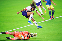 ORLANDO, FL - JANUARY 18: Margaret Purce #23 of the USWNT takes a leap during a game between Colombia and USWNT at Exploria Stadium on January 18, 2021 in Orlando, Florida.