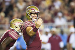 Florida State Seminoles quarterback Alex Hornibrook (12) sets his receiver in action in the second half of an NCAA college football game against North Carolina State in Tallahassee, Fla., Saturday, Sept. 28, 2019. Florida State defeated North Carolina State 31-13.   (AP Photo/Mark Wallheiser)