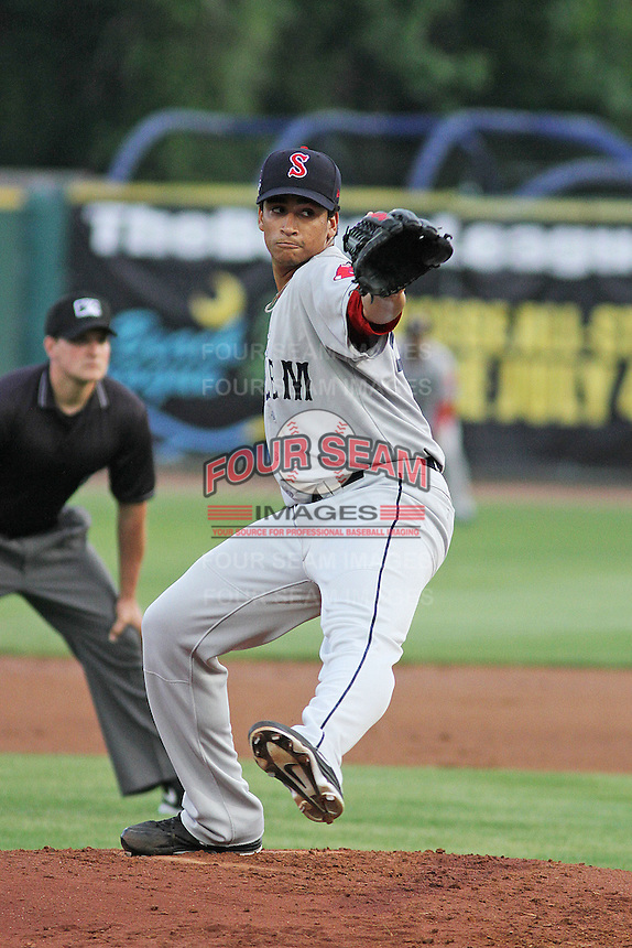 Salem Red Sox pitcher William Cuevas #45 on the mound during a game against the Myrtle Beach Pelicans at Ticketreturn.com Field at Pelicans Ballpark on May 10, 2013 in Myrtle Beach, South Carolina. Myrtle Beach defeated Salem 5-1. (Robert Gurganus/Four Seam Images)