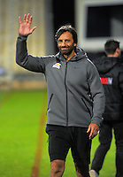 Jaguares coach Raul Perez waves to fans the Super Rugby match between the Crusaders and Jaguares at AMI Stadium, Christchurch, New Zealand on Friday, 15 April 2016. Photo: Dave Lintott / lintottphoto.co.nz