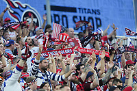 NASHVILLE, TN - SEPTEMBER 5: American Outlaw supporters during a game between Canada and USMNT at Nissan Stadium on September 5, 2021 in Nashville, Tennessee.