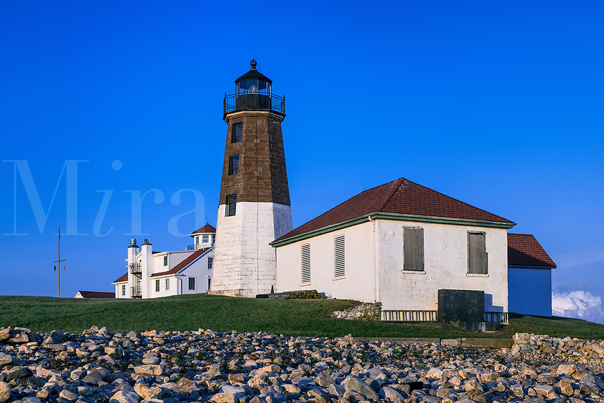 Judith Point Lighthouse and Coast Guard Station, Narragansett, Rhode Island, USA.