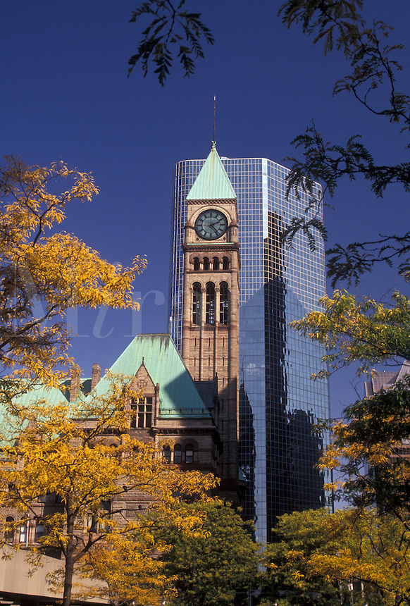 AJ3062, Toronto, Canada, Ontario, A modern high-rise building stands behind the Old City Hall in downtown Toronto.