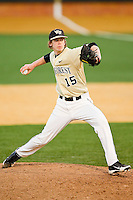 Relief pitcher Jack Fischer #15 of the Wake Forest Demon Deacons in action against the Georgetown Hoyas at Wake Forest Baseball Park on February 26, 2012 in Winston-Salem, North Carolina.  The Demon Deacons defeated the Hoyas 5-2.  (Brian Westerholt / Four Seam Images)