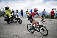 stage winner Mark Padun (UKR/Bahrain - Victorious) solo's the last few 100's meters up the climb towards La Plagne (HC/2072m/17.1km@7.5%) <br /> <br /> 73rd Critérium du Dauphiné 2021 (2.UWT)<br /> Stage 7 from Saint-Martin-le-Vinoux to La Plagne (171km)<br /> <br /> ©kramon