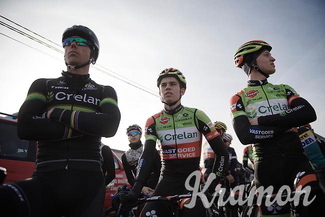 3 'Crelan' riders side by side before the course is opened for recon: 'old' versus 'new'; Sven Nys (BEL/Crelan-AAdrinks) versus Wout Van Aert (BEL/Crelan-Vastgoedservice) & Tim Merlier (BEL/Crelan-VastgoedService)<br /> <br /> GP Sven Nys 2016