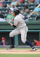Outfielder Ramon Flores (5) of the Charleston RiverDogs in a game against the Greenville Drive on Aug. 24, 2010, at Fluor Field at the West End in Greenville, S.C. Photo by: Tom Priddy/Four Seam Images