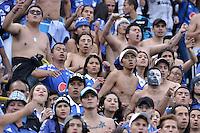 BOGOTA - COLOMBIA -05 -06-2016: Hinchas de Millonarios animan a su equipo durante partido de vuelta entre Millonarios y Atlético Junior por los cuadrangulares finales de la Liga Aguila I 2016 jugado en el estadio Nemesio Camacho El Campin de la ciudad de Bogota./ Fans of Millonarios cheer for their team during the second leg match between Millonarios and Atletico Junior for the finals quadrangular of the Liga Aguila I 2016 played at the Nemesio Camacho El Campin Stadium in Bogota city. Photo: VizzorImage / Gabriel Aponte / Staff.