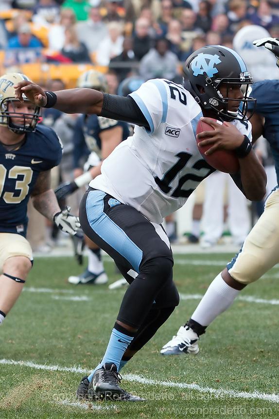 North Carolina quarterback Marquise Williams. The North Carolina Tar Heels defeated the Pitt Panthers 34-27 at Heinz Field, Pittsburgh Pennsylvania on November 16, 2013.
