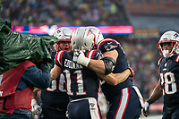 FOXBOROUGH, MA - OCTOBER 27: New England Patriots Wide Receiver Julian Edelman #11 celebrates with New England Patriots Offensive lineman James Ferentz #66 and New England Patriots Offensive lineman Ted Karras #75 during a game between Cleveland Browns and New Enlgand Patriots at Gillettes on October 27, 2019 in Foxborough, Massachusetts.
