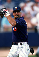 Ken Caminiti of the San Diego Padres at the Peoria Sports Complex in Peoria, Arizona during 1996 Spring Training. (Larry Goren/Four Seam Images)