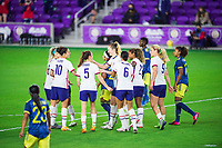 ORLANDO, FL - JANUARY 18: USWNT celebrate a goal during a game between Colombia and USWNT at Exploria Stadium on January 18, 2021 in Orlando, Florida.