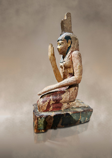 Ancient Egyptian wooden statue of osiris weeping, Late Period (664-332 BC). Egyptian Museum, Turin. Drovetti Cat 203.