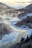 Steam rises from the Nenana River on a bitterly cold morning near Denali National Park, Alaska.