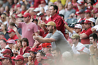Arkansas fans cheer, Monday, June 7, 2021 in the NCAA Fayetteville Regional at Baum-Walker Stadium in Fayetteville. Check out nwaonline.com/210608Daily/ for today's photo gallery. <br /> (NWA Democrat-Gazette/Charlie Kaijo)