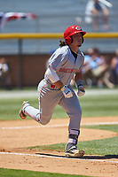 Rylan Thomas (37) of the Greeneville Reds hustles down the first base line during the game against the Burlington Royals at Burlington Athletic Stadium on July 8, 2018 in Burlington, North Carolina. The Royals defeated the Reds 4-2.  (Brian Westerholt/Four Seam Images)