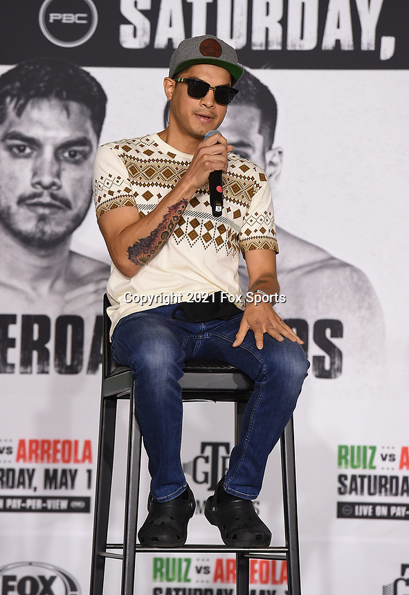 LOS ANGELES, CA - APRIL 29: Omar Figueroa Jr. attend the undercard press conference for the Andy Ruiz Jr. vs Chris Arreola Fox Sports PBC Pay-Per-View in Los Angeles, California on April 29, 2021. The PPV fight is on May 1, 2021 at Dignity Health Sports Park in Carson, CA. (Photo by Frank Micelotta/Fox Sports/PictureGroup)