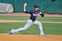 Greg Burke (17) of the New Hampshire Fisher Cats delivers a pitch during a game between the New Britain Rock Cats and the New Hampshire Fisher Cats at New Britain Stadium on April 19, 2015 in New Britain, Connecticut.<br /> (Gregory Vasil/Four Seam Images)