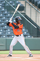 Kelvin Beltre (14) of the AZL Giants bats during a game against the AZL Angels at Tempe Diablo Stadium on July 6, 2015 in Tempe, Arizona. Angels defeated the Giants, 3-1. (Larry Goren/Four Seam Images)