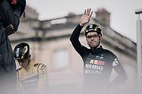 Wout van Aert (BEL/Jumbo-Visma) at the race start in Compiègne<br /> <br /> 118th Paris-Roubaix 2021 (1.UWT)<br /> One day race from Compiègne to Roubaix (FRA) (257.7km)<br /> <br /> ©kramon
