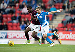 St Johnstone v HeartsÖ17.05.17     SPFL    McDiarmid Park<br /> Arnaud Djoum andf David Wotherspoon<br /> Picture by Graeme Hart.<br /> Copyright Perthshire Picture Agency<br /> Tel: 01738 623350  Mobile: 07990 594431