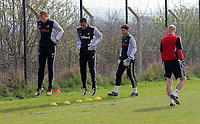 Pictured: Goalkeeper coach Adrian Tucker (R) with goalkeepers L-R Gerhard Tremmel, Michel Vorm and Jose Moreira.  Friday, 23 March 2012<br /> Re: Swansea City FC training at LLandarcy, south Wales.
