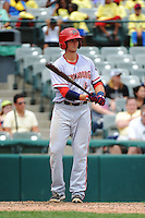 Harrisburg Senators infielder Ricky Hague (6) during game against the Trenton Thunder at ARM & HAMMER Park on July 31, 2013 in Trenton, NJ.  Harrisburg defeated Trenton 5-3.  (Tomasso DeRosa/Four Seam Images)