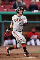 Ryan Lollis #17 of the San Jose Giants bats against the High Desert Mavericks at Stater Bros. Stadium on April 9, 2012 in Adelanto,California. High Desert defeated San Jose 6-5.(Larry Goren/Four Seam Images)