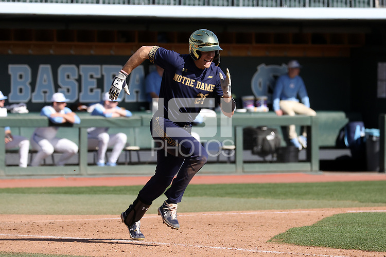 CHAPEL HILL, NC - MARCH 08: Eric Gilgenbach #25 of the University of Notre Dame runs to first base after hitting the ball during a game between Notre Dame and North Carolina at Boshamer Stadium on March 08, 2020 in Chapel Hill, North Carolina.