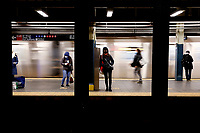 NEW YORK, NEW YORK - FEBRUARY 21: People waits in 42 St. Subway Station on February 21, 2021 in New York. A study found that subway air is polluted, exposing the people to high concentrations of hazardous metals and harmful pollutants.  (Photo by John Smith/VIEWpress via Getty Images)