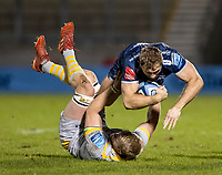 27th December 2020; AJ Bell Stadium, Salford, Lancashire, England; English Premiership Rugby, Sale Sharks versus Wasps; Sam Hill of Sale Sharks is tackled and tumbles forward