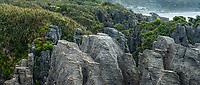 Limestone formations, pancake rocks at Dolomite Point in Punakaiki, Paparoa National Park, West Coast, Buller Region, New Zealand, NZ
