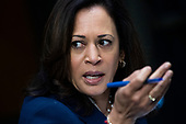 "United States Senator Kamala Harris (Democrat of California),  speaks during the US Senate Judiciary Committee hearing titled ""Examining Best Practices for Incarceration and Detention During COVID-19,"" in Dirksen Building in Washington, D.C. on Tuesday, June 2, 2020.<br /> Credit: Tom Williams / Pool via CNP"