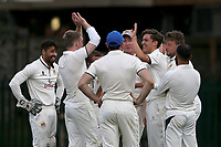 Hornchurch Athletic players celebrate taking the third Barking wicket during Barking CC (batting) vs Hornchurch Athletic CC, Hamro Foundation Essex League Cricket at Mayesbrook Park on 31st July 2021