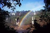 Parana State, Brazil. Iguacu falls with a rainbow.