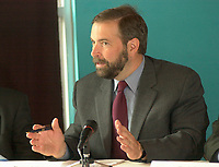may 27, 2003, Montreal, Quebec, Canada.<br /> <br /> Thomas J Mulcair, Quebec new Environment Minister, speak at a press conference to disclose the trial use of Bio Diesel (H 20)for the last 6 months,<br />  by the Transit Commission in Montreal (Societe de Transport de Montreal) ,  May 28, 2003.<br /> <br /> If done on a regular basis, it would help reduce pollution by city buses.<br /> <br /> <br /> Mandatory Credit: Photo by Pierre Roussel- Images Distribution. (©) Copyright 2003 by Pierre Roussel
