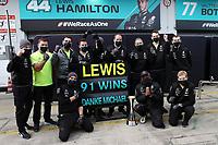 11th October 2020, Nuerburgring, Nuerburg, Germany; FIA Formula 1 Eifel Grand Prix, Race Day;  Sieger Lewis Hamilton GB 44, Mercedes-AMG Petronas F1 Team  celebrates his 91st F1 win