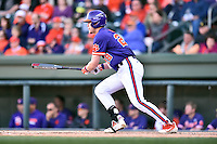 Clemson Tigers right fielder Seth Beer (28) swings at a pitch during a game against the South Carolina Gamecocks at Fluor Field on March 5, 2016 in Greenville, South Carolina. The Tigers defeated the Gamecocks 5-0. (Tony Farlow/Four Seam Images)