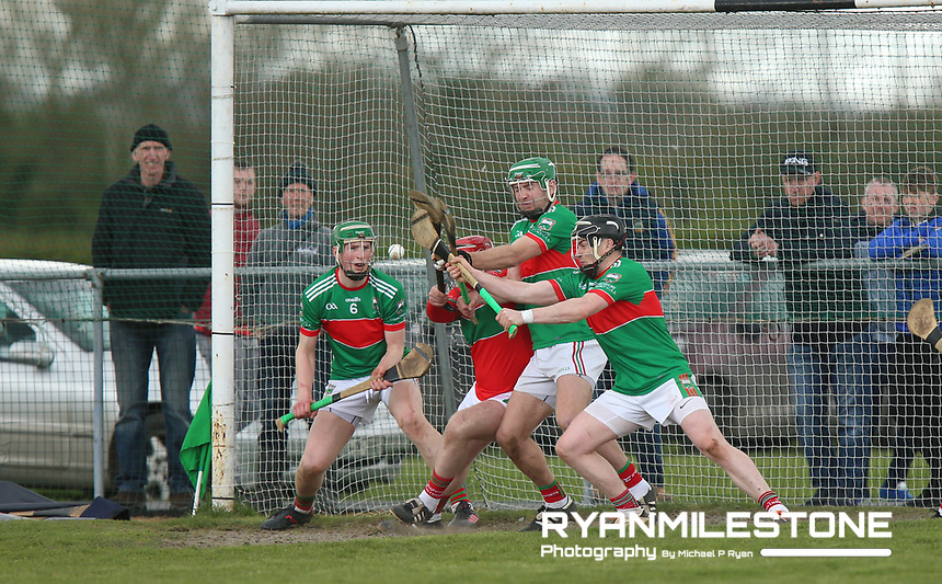 Loughmore/Castleiney's Shane Nolan makes a save from a free during the Centenary Agri Mid Senior Hurling Championship Quarter Final between Loughmore/Castleiney and Drom Inch on Saturday 28th April 2018 at Templetuohy, Co Tipperary, Photo By Michael P Ryan