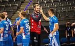 Freude nach Sieg gegen Frisch Auf: Johannes Bitter (TVB Stuttgart #1) ; Jerome Mueller (TVB Stuttgart #27) ; BGV Handball Cup 2020 Finaltag: TVB Stuttgart vs. FRISCH AUF Goeppingen am 13.09.2020 in Stuttgart (PORSCHE Arena), Baden-Wuerttemberg, Deutschland<br /> <br /> Foto © PIX-Sportfotos *** Foto ist honorarpflichtig! *** Auf Anfrage in hoeherer Qualitaet/Aufloesung. Belegexemplar erbeten. Veroeffentlichung ausschliesslich fuer journalistisch-publizistische Zwecke. For editorial use only.