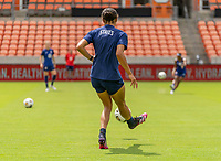 HOUSTON, TX - JUNE 9: Alana Cook #26 of the USWNT passes the ball during a training session at BBVA Stadium on June 9, 2021 in Houston, Texas.