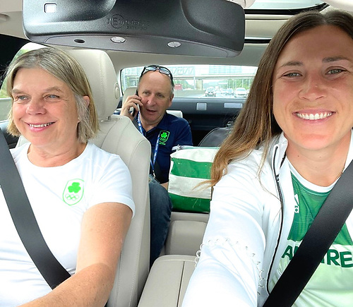 Poignant moment. Cathy MacAleavey, Con Murphy and Annalise Murphy on their way to Dublin Airport and Annalise's departure alone for the Olympics