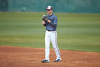 Concord Mountain Lions second baseman Nathan Neff (5) on defense against the Wingate Bulldogs at Ron Christopher Stadium on February 1, 2020 in Wingate, North Carolina. The Bulldogs defeated the Mountain Lions 8-0 in game one of a doubleheader. (Brian Westerholt/Four Seam Images)