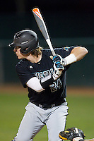 Colin Hering (24) of the Coastal Carolina Chanticleers at bat against the High Point Panthers at Willard Stadium on March 15, 2014 in High Point, North Carolina.  The Panthers defeated the Chanticleers 11-8 in game two of a double-header.  (Brian Westerholt/Four Seam Images)